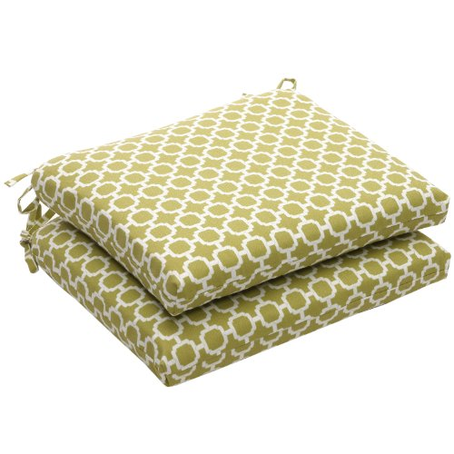 Pillow Perfect Indoor/Outdoor Geometric Square Seat Cushion, 18.5 in. L X 16 in. W X 3 in. D, Green/White (Cushions D Square Outdoor Seat)