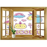 SCOCICI Window Mural Wall Sticker/Unicorn Cat,Collection Fantastic Icons Magic Horse Kitten Cupcake Rainbow Decorative,Sky Blue Pink Light Yellow/Wall Sticker Mural