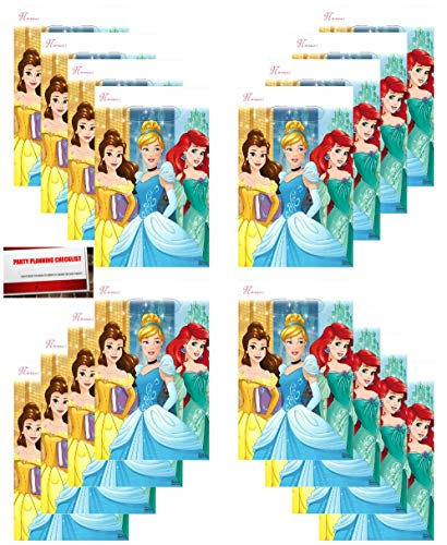 Princess Dream Big Disney (16 Pack) Party Plastic Loot Treat Candy Favor Bags Princess Aurora, Cinderella, Belle (Plus Party Planning Checklist by Mikes Super Store)