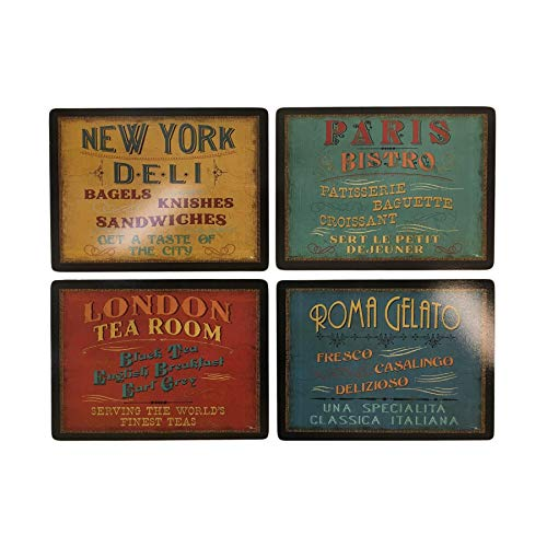- SET OF 4 LUNCHTIME THEMED CORK BACKED LARGE PLACEMATS & 6 X COASTERS