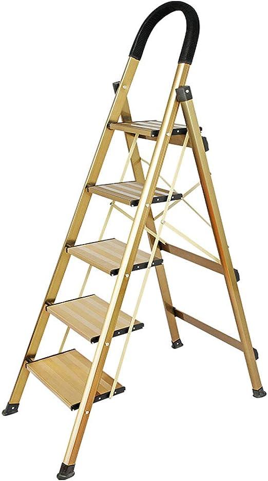 SONGTING Step stool Taburete de 5 peldaños Escalera de peldaño Plegable con empuñadura Antideslizante Pedal Robusto y Ancho Multiuso para hogar y Oficina Taburete de Acero portátil: Amazon.es: Hogar