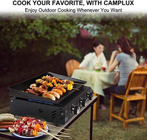 Camplux GP103B Plancha à Gaz Portable à 3 Brûleurs, Camping Barbecue Gaz Extérieure, Zone de Cuisson 2220cm², 6000W