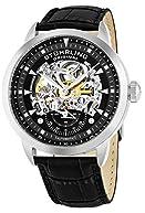 Stuhrling Original Men's 133.33151 Executive Automatic Skeleton Black Genuine Leather Strap Watch