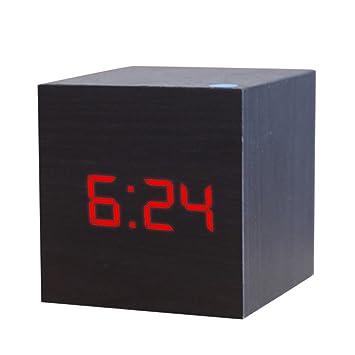 joyliveCY Reloj Despertador Digital LED de Madera, Muestra la Fecha y la Temperatura del Tiempo, Cubo USB/Alimentado por batería-Negro-Rojo: Amazon.es: ...