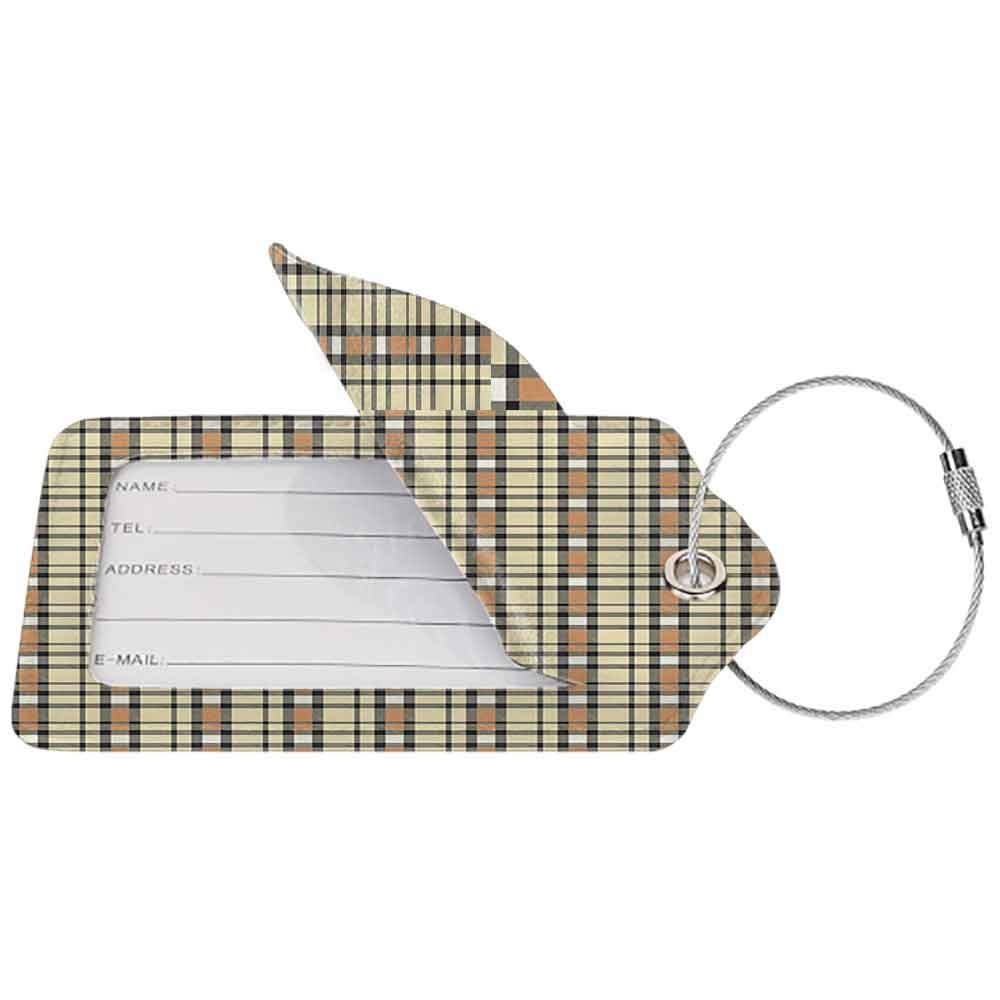 Modern luggage tag Abstract Tartan with Diagonal Bands of Different Color Lines Authentic Image Suitable for children and adults Amber Green Charcoal Grey W2.7 x L4.6