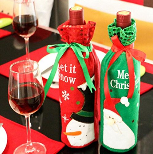Iuhan Christmas Santa Claus Red Wine Bottle Cover Bags Champagne Wine Bottle Sets (Random Color (Christmas Party Ideas For Teens)