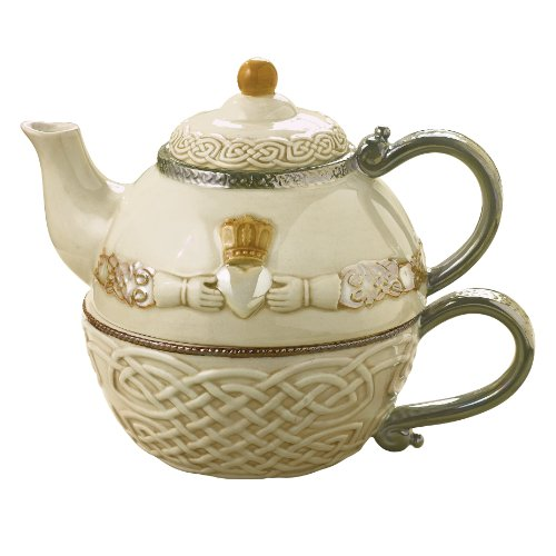 Grasslands Road 461537-X Celtic 16-Ounce Claddagh Stacking Tea for One Teapot with Teacup, Gift Boxed, Silver