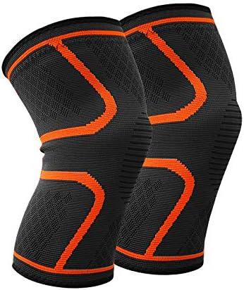 JIALONG 膝スリーブ メニスカス、関節炎、痛み軽減、クイックリカバリーなどに ランニング、クロスフィット、バスケットボールなどスポーツにも対応。汗止めバンド1枚付き。 オレンジ X-Large