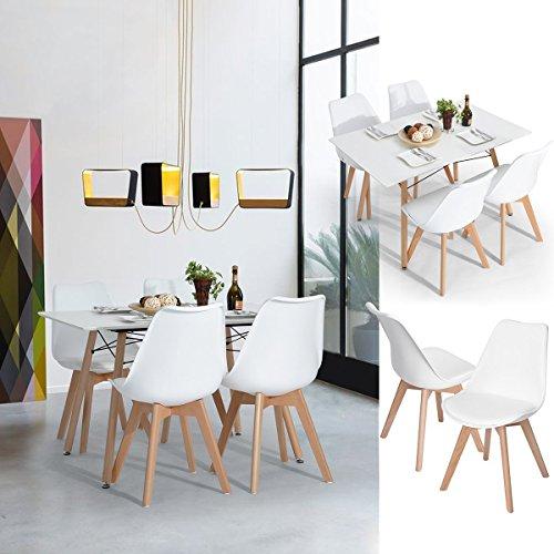 Amazon.com: FurnitureR - Juego de 4 sillas de comedor ...