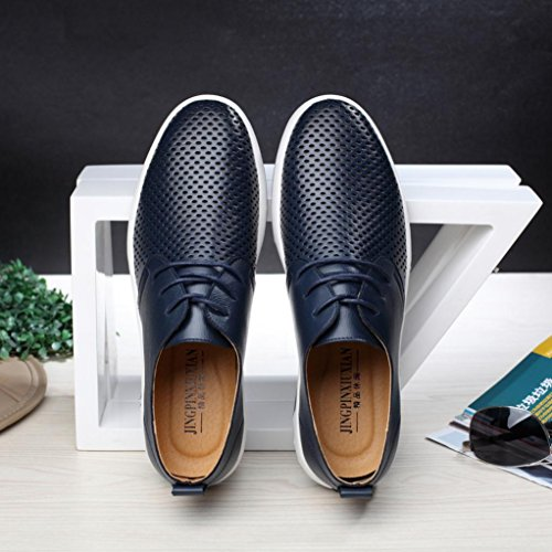 HLHN Men Leather Shoes, Hollow Out Lace up Uniform Dress Shoes Flat Business Breathable Round Toe Casual Loafers Oxfords Navy