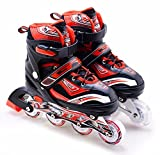 The Magic Toy Shop Childrens Kids Boys Girls 4 Wheel Adjustable Inline Skates Roller Blades Boots (Red Medium/UK 2-4/)