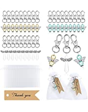 GWHOLE Angel Keychain Favor 90pcs Angel Keychains Set with 30 Pearl Angel Key Rings 30 Thank You Tags 30 Organza Bags Charms Gifts for Guests Baby Shower Wedding Christening Souvenir