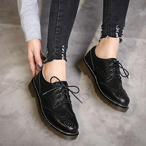 Fashion Lace T Women's Oxfords JULY Perforated Toe Shoes Retro Thick Round up Shoes Sole q644EYcry