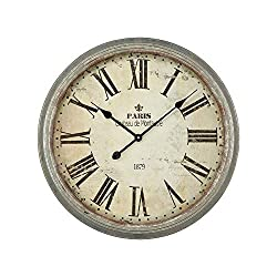 Contemporary Home Living 24.25 Grey Chateau de Montautre Wall Clock with Salvaged Metal Finished