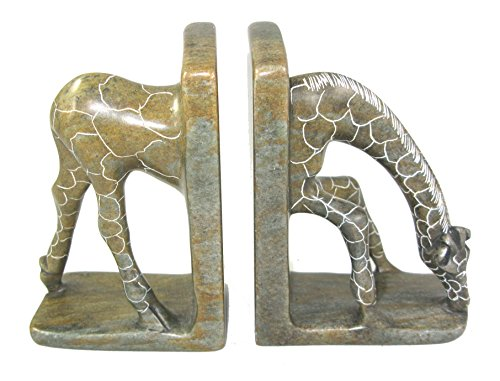 (The Friendly Trading Company Pair of Stone African Giraffe Bookends - African Shona Art Scuptures Zimbabwe 8 x 5 inch 3.5 lbs weight )