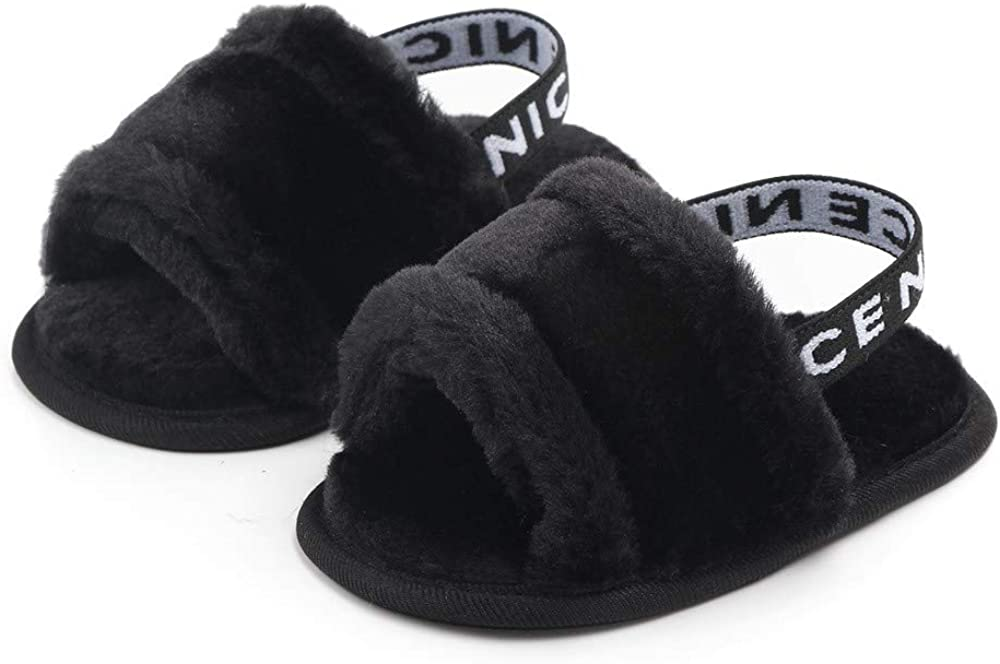   Meckior Infant Baby Girls Sandals Faux Fur Slides with Elastic Back Strap Flats Slippers Princess Dress First Walker Moccasins Shoes   Sandals