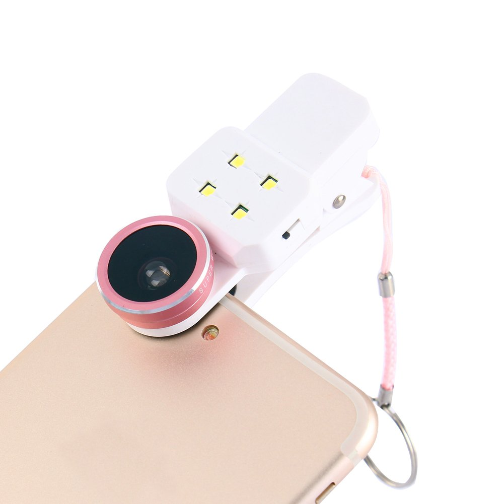 WinnerEco Selfie Fill Light New Mobile Phone 4 In 1 Fisheye Lens Wide Angle And Macro LED Light