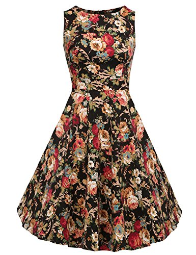 ACEVOG Women Vintage Elegant Sleeveless High Waist Dark Apricot Floral Dress,Dark Apricot Floral,3X