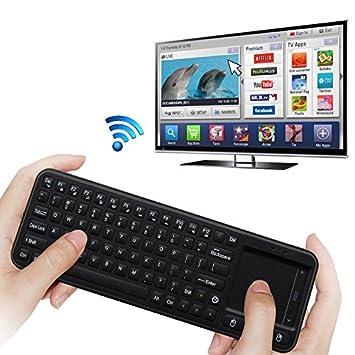 ILS - Mini Teclado inalámbrico 2.4 G ergonómico con ratón touchpad para Smart TV, Mini PC, HTPC, Consola, Computer (Layout Italiano): Amazon.es: Electrónica