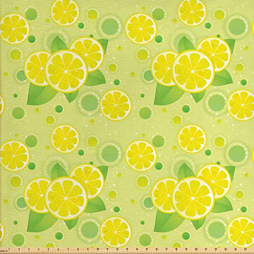 Lunarable Vintage Fabric by The Yard, Lemon Lime Pattern in Retro Vintage Style Citrus Fruit Circles Natural Image, Decorative Fabric for Upholstery and Home Accents, 2 Yards, Yellow Green