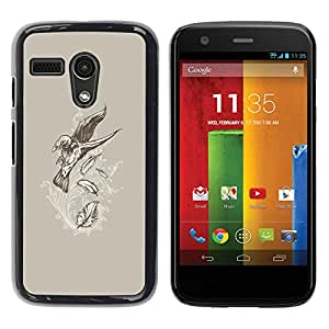 Be Good Phone Accessory // Dura Cáscara cubierta Protectora Caso Carcasa Funda de Protección para Motorola Moto G 1 1ST Gen I X1032 // Flying Crow Raven Skeleton Goth