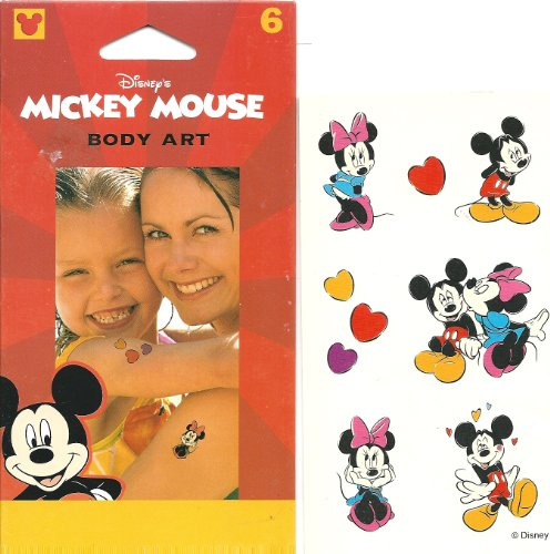 [Disney Mickey and Minnie Mouse Kissing Love Body Art Temporary Tattoo] (Donald Duck Costume Makeup)