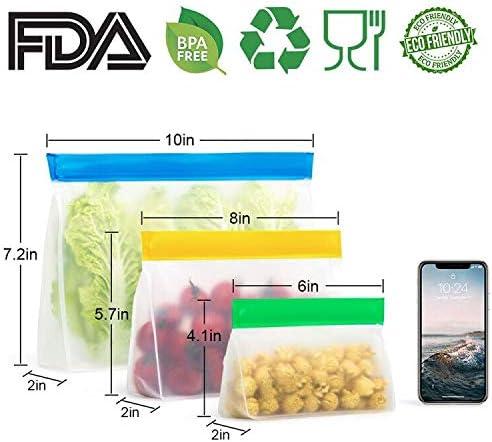 Tailles Diff/érentes Lot de 7 Sac de Conservation Frigo Cong/élateur R/éutilisable Ecologiques Sachet Alimentaire Sac de Stockage de Nourriture pour Fruits L/égumes Viande