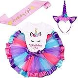 LYLKD Little Girls Unicorn Outfit Dress,Layered Rainbow Tutu Skirt,Unicorn T-Shirt and Unicorn Horn Headband. (Bday-Deep Purple, L,4-5 Years)