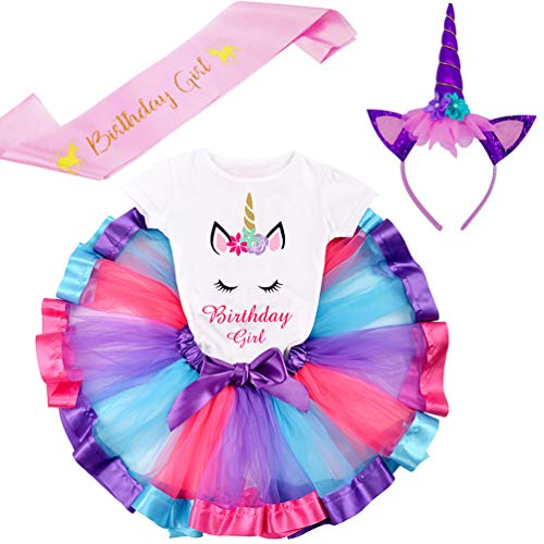 LYLKD Little Girls Unicorn Outfit Dress,Layered Rainbow Tutu Skirt,Unicorn T-Shirt and Unicorn Horn Headband. (Bday-Deep Purple, XXL,6-7 Years)