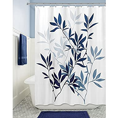 InterDesign Leaves Soft Fabric Shower Curtain, 72  x 72 , Navy/Slate Blue