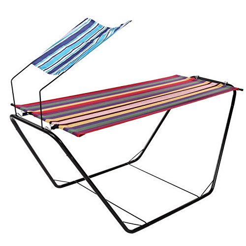 YUEBO Portable Canvas Hammock with Space-Saving Steel Stand and Shoulder Harness Carrying Bag, Weight Capacity of 250 lbs - Khaki