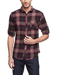 "<span class=""a-offscreen"">[Sponsored]</span>Mens Brown & Black Checkered Slim Fit Flannel Shirt"
