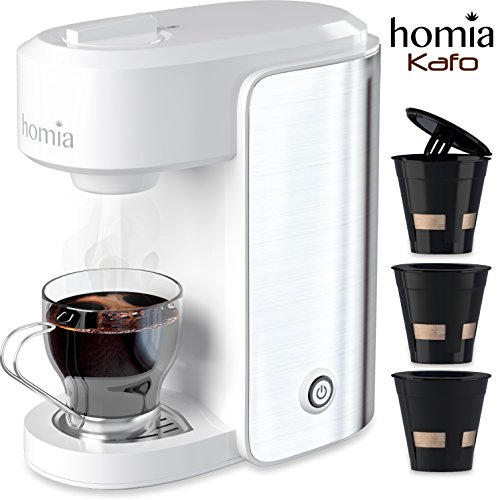 Coffee Maker Machine Single Serve – Electric Brewer for Ground Coffee, K-cup Сompatible, 10 oz (300 ml), 1000W, 3.5 bar Pump with Reusable Capsules and Automatic Shut-Off, Stainless Steel + White