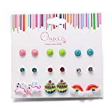 9 Pair Small Cute Post Stud Earrings Set for Girls Kids Mix and Match