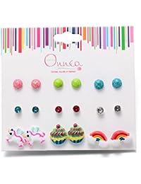 Multi Pairs Disc Ball Earrings Set for Girls, Hypoallergenic
