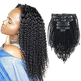 Sassina 8A 100% Remy 3C and 4A Kinkys Curly Clip in Human Hair Extensions, Real Thick, Double Weft, 1 Jet Black 120 gram…