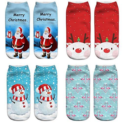Christmas Styles Sock Set, Pack of 4 Pair Cute 3D Printed Christmas Casual Socks Cute Unisex Low Cut Ankle Socks Xmas Gift Women Girl Boy Unisex Decorations Wedding Elk Snowman Santa Flamingo Pattern