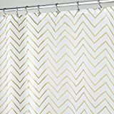 Gold Shower Curtain mDesign Decorative Metallic Chevron Print Water Repellent, Fabric Shower Curtain for Bathroom Showers and Stalls, Machine Washable � 72