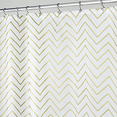 "mDesign Sketched Decorative V-Pattern Fabric Shower Curtain - 72"" x 72"", Gold -  - shower-curtains, bathroom-linens, bathroom - 51MeOY1ShGL. SS400  -"