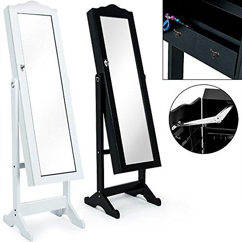 Spiegelschrank Schwarz + Türgelenk + Schubfächer + schwenkbar - Schmuckschrank Schrankspiegel
