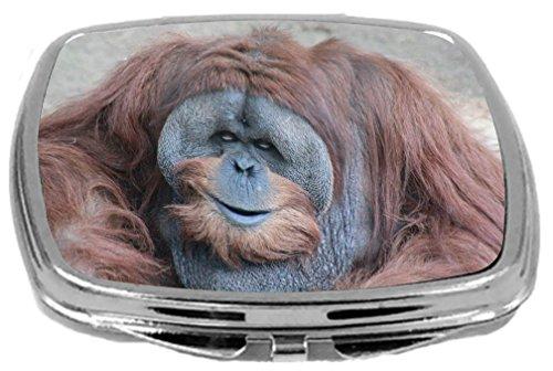 Rikki Knight Compact Mirror, Smiling Male Orangutan Monkey, 3 Ounce
