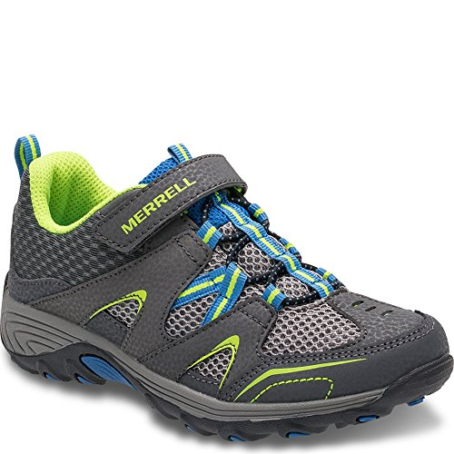 Merrell Trail Chaser Hiking Shoe (Little Kid/Big Kid), Grey/Blue/Citron, 4 M US Big Kid