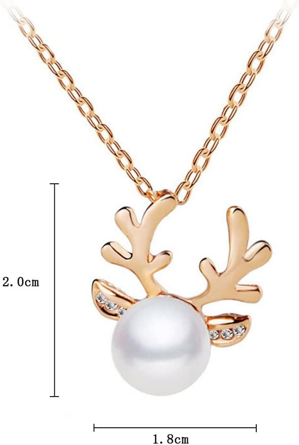 Leisial/™ 1 Paar Gold Mode Damen Ohrringe Weihnachten Elch Ohrringe Elegant Pearl Ohrringe 2 1.8CM
