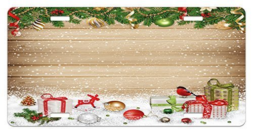 zaeshe3536658 Christmas License Plate, Pine Branches Ornaments on Wooden Planks SnoPresents Vintage Composition Print, High Gloss Aluminum Novelty Plate, 6 X 12 Inches.