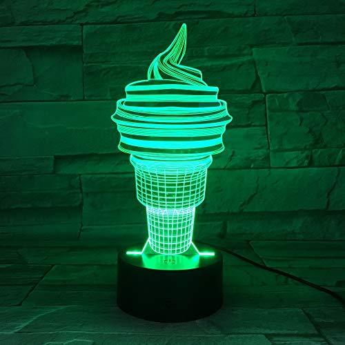 (Night Light 3D Optical Illusion Light,Ice Cream 7 Colors Change Night Lamp Led Table Light for Bedroom Sleeping Lamp Home Decor Art Decor Kids Gift)