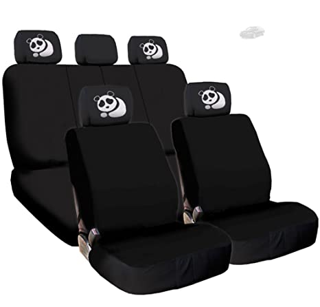 Yupbizauto New Black Flat Cloth Universal Fit Car Seat Covers With Embroidery Logo Headrest Support