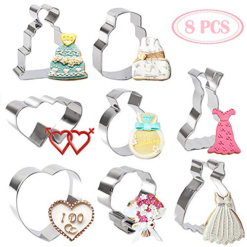 BAKHUK 8pcs Wedding Cookie Cutter Set - 2 Hearts, 2 Wedding Cakes, 2 Wedding Dresses, 1 Diamond Ring, 1 Bouquet, Stainless Steel