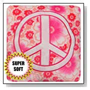 Super Soft Velboa Floral Pattern Embroidered Peace Sign Accent Pillow - Pink Print