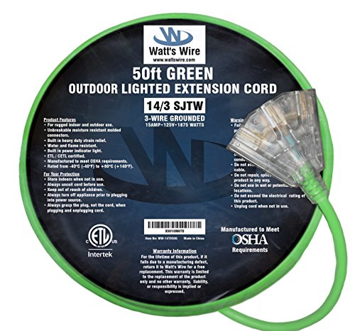 50 ft 14 Gauge Heavy Duty Indoor Outdoor SJTW Lighted Triple Outlet Extension Cord by Watts Wire - Green 50 foot 14 AWG Copper Lighted Multi Outlet Grounded 14/3 Extension Cord by Watt's Wire