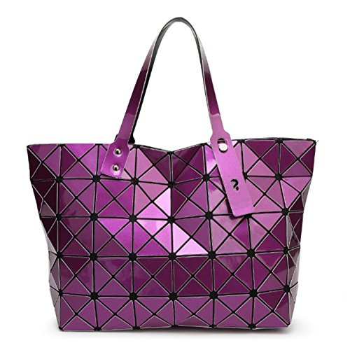 - Kayers Sulliva Women's Fashion Geometric Lattice Tote Glossy PU Leather Shoulder Bag Top-handle Handbags